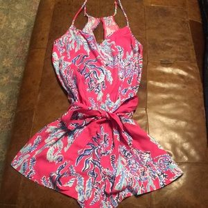 Lilly Pulitzer romper pink and blue coral